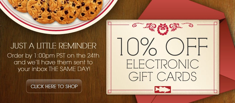 10% Off Electronic Gift Cards at Tackle Warehouse