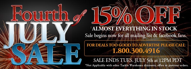 Tackle Warehouse 4th of July Sale