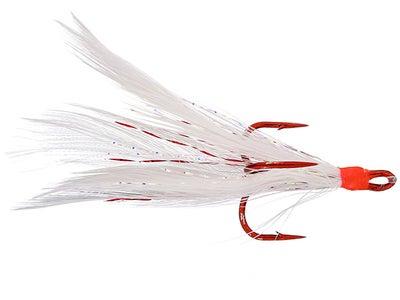 Mustad Feathered Treble Hook Red Hook 2pk